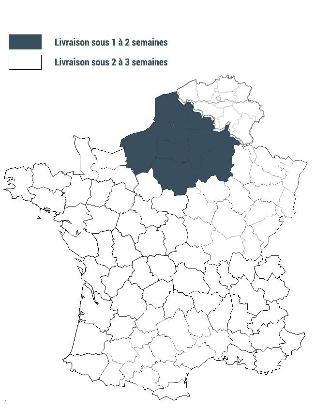 Carte délai livraison clotures France Belgique